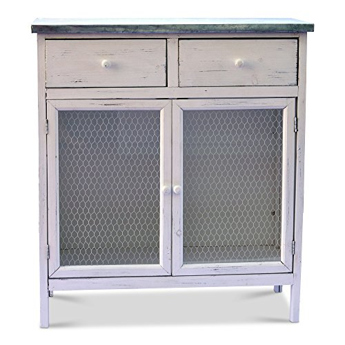 Whole House Worlds The Farmer's Market Shabby Commode Cabinet, 2 Drawers, Galvanized Metal, Chicken Wire, Distressed Rustic Finish, White Stained Sustainable Wood, 29 ½ L x 13 ¾ W x 32 ¾ H Inches. By
