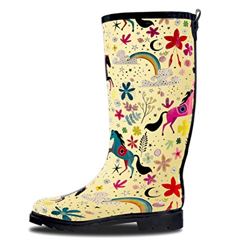 LONECONE Women's Patterned Mid-Calf Rain Boots, Moroccan Horses, 9 -