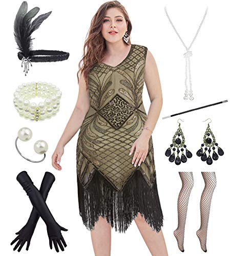 1920s Plus Size Long Prom V Neck Beaded Sequin Gatsby Maxi Evening Dress with 20s Accessories Set (3XL, Gold)]()
