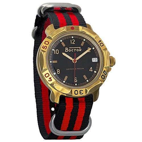 Vostok Komandirskie Black Dial Army Mechanical Mens Military Commander Wrist Watch #819326 (black+red)