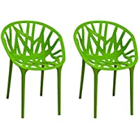 Ergo Furnishings Modern Molded Plastic Branch Chair Dining Chair (Set of 2), Green