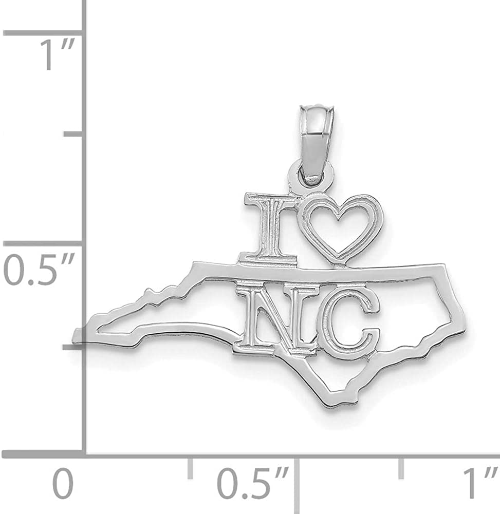 Lex /& Lu 14k White Gold Solid North Carolina State Pendant