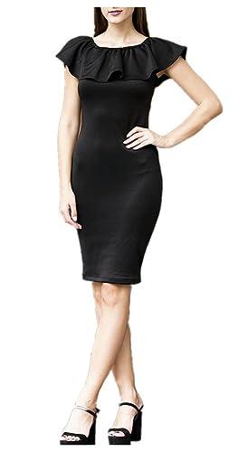 CoolooC Women's One Shoulder Dress Off Shoulder Dress Ruffle Dress Ruched Dress Vintage Dress