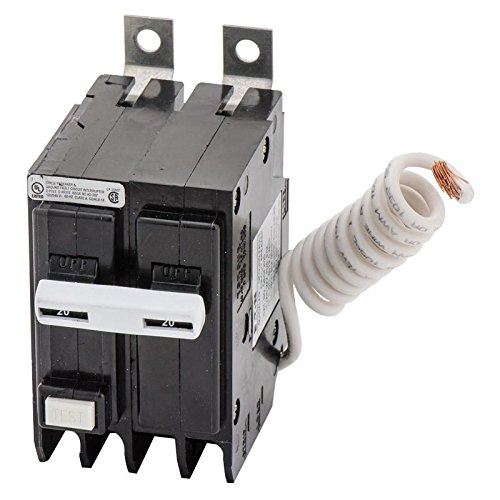 Eaton QBGFT2020 Bolt-On Mount Type QBGFT Ground Fault Circuit Breaker 2-Pole 20 Amp 120/240 Volt AC Quicklag