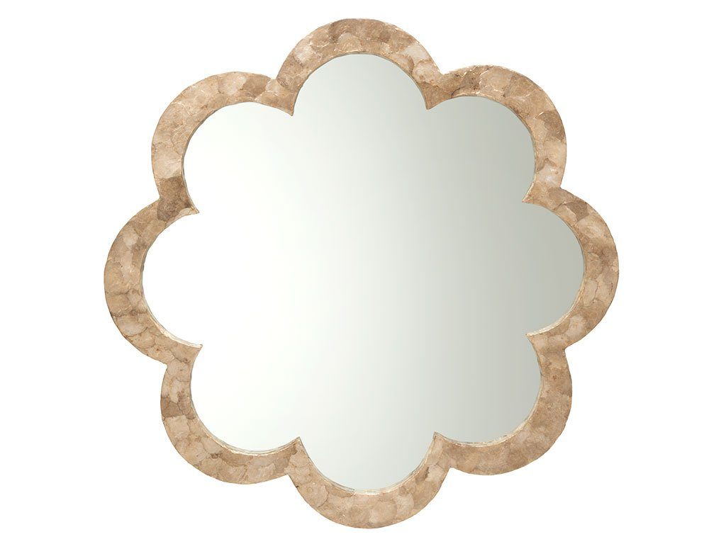 """KOUBOO 1040127 Flower Capiz Seashell Wall Mirror, 30"""" x 2"""" x 30"""", Gold - Diameter 30 Inch x 2 Inch deep Capiz Seashell hand set on wood frame Mirrored glass can be cleaned with any glass cleaner; Use dry cloth to clean frame - bathroom-mirrors, bathroom-accessories, bathroom - 51WnyqfukcL -"""