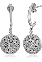 Sterling Silver with White Diamond Earrings (1/4cttw, I-J Color, I2-I3 Clarity)