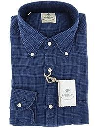 New Luigi Borrelli Dark Blue Plaid Extra Slim Shirt