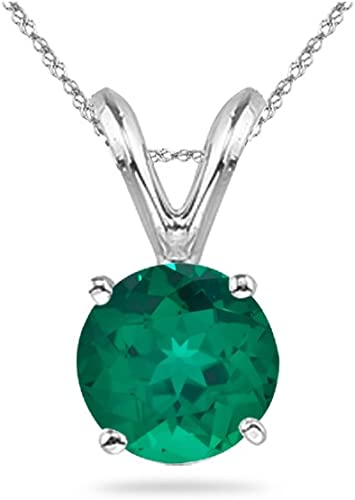 0.57-0.81 Cts of 6 mm AAA Round Russian Lab Created Emerald Solitaire Pendant in 14K White Gold