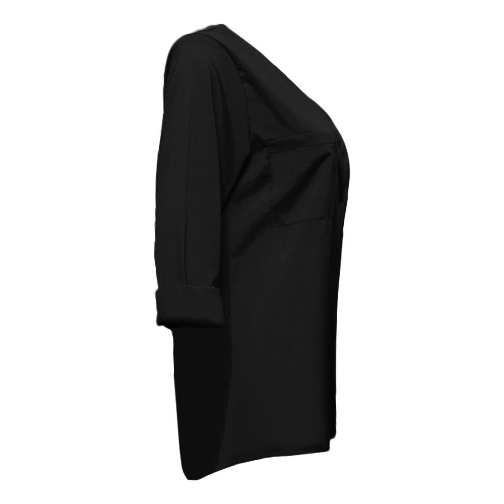 Ropa Camisas Mujer, ❤ Modaworld Camiseta de Manga Larga para Mujer Blusa Casual Jersey Mujeres Otoño Casual Manga Larga sólidos Bolsillos Camisetas Tops ...