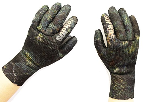 Sopras Sub Freedivers Gloves Camou 3mm Camouflage Spear Fishing Camo Scuba Dive Diving Diver Divers Swim Swimming Snorkeling Gloves (M)