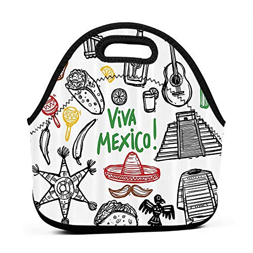 Travel Case Lunchbox with Zip Mexican Decorations,Sketch Latin Object with Burritos Guitar Tequila Bottle Pinata Quetzal coati,Multi,swiss army lunch bag for men