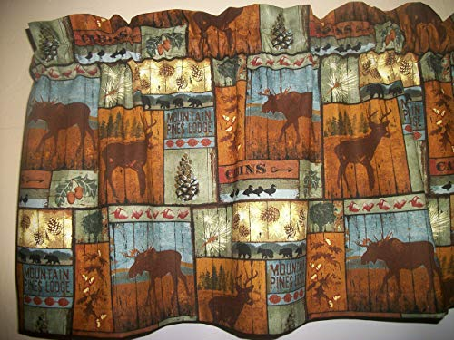 Cabin Lodge Camp Patchwork Moose Black Bear Deer North Woods fabric decor window covering treamtent curtain topper Valance ()