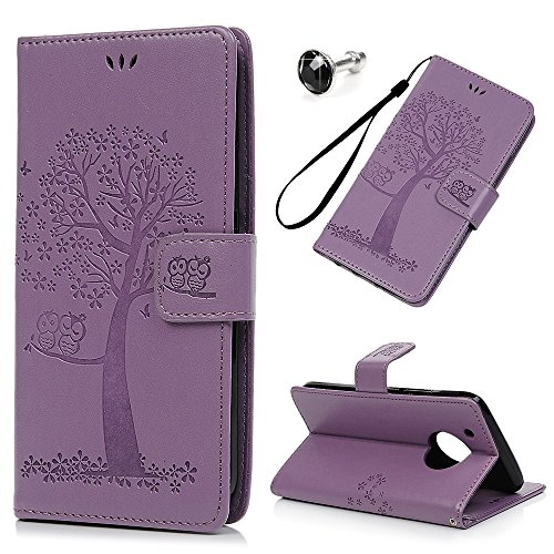 Wallet Bonded Leather Card (Moto G5 Plus Case, Flip Book Style Embossed Owl Tree Wallet Case PU Leather Cover Soft TPU Interior Magnetic Shell Hand Strap Drop Protection with Diamond Dust Plug by REACHOPE, Purple)