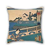 16 X 16 Inches / 40 By 40 Cm Oil Painting Kunisada - Viewing The Seashore At The Eguchi Inn (one Of A Triptych With F1978.58 And F1978.59) Throw Cushion Covers Twin Sides Is Fit For Study Room Ben