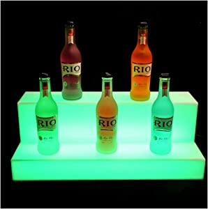16/24/32/40 Inch Acrylic LED Lighted Liquor Bottle Display Stand Illuminated Bottle Shelf Home Bar Drinks Lighting Shelves with RF Remote Control Multiple Colors,C(602117cm)