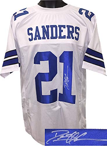 Deion Sanders Autographed Signed White Custom Stitched Pro Style Football Jersey- JSA Authentic