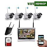 Pantalla de 12 pulgadas OOSSXX HD 1080P Sistema de cámara de video de seguridad inalámbrica de 8 canales, 4 piezas Cámara IP de 960 megapíxeles inalámbrica resistente a la intemperie, Plug and Play, visión nocturna de 70FT, P2P, Aplicación, HDT de 1T Pre-instalación