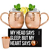 100% Copper Moscow Mule Mugs Set (16 oz) - Heavy Weight - Includes 2 Copper Cups with Food-Safe Lacquer - 3 Coasters and Copper Shot Glass