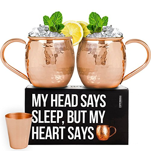 100% Copper Moscow Mule Mugs Set (16 oz) - Heavy Weight - Includes 2 Copper Cups with Food-Safe Lacquer - 3 Coasters and Copper Shot Glass by MIXTURE CLUB