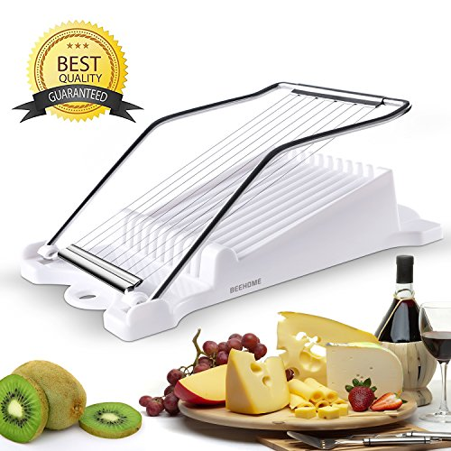 Luncheon Meat Boiled Egg Fruit Slicer Soft Food Cheese Sushi Cutter Canned Meat Cutting Machine with 10 Singing Cutting Wires Stainless Steel in White