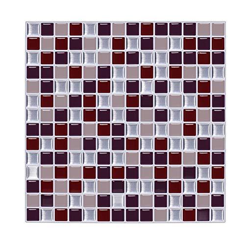 VanBest PeelNStick 3D Mosaic Kitchen Backsplash Wall Tiles Sticker10x10 Square6 SheetsRed