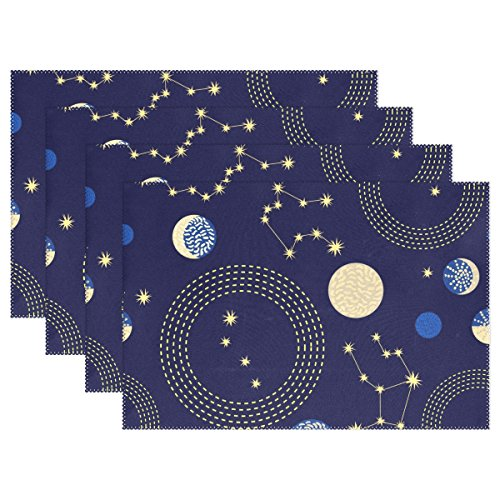 Cooper girl Cartoon Solar System Planet Placemat Heat Resistant Washable Mat 12x18 Inch for Kitchen Dining Table by ALAZA