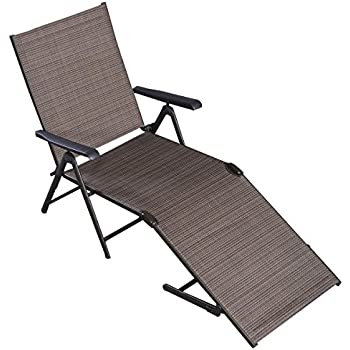 Amazon Com Tan Outdoor Lounge Chair Recliner Pool Chaise Patio Furniture Textilene