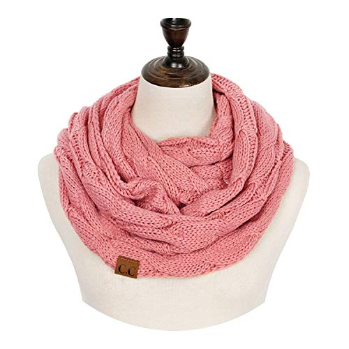 (2018 Knitted Cable Ring Scarf Women Soft Winter Infinity Scarves Cashmere Neck Circle Scarf,NO.1)
