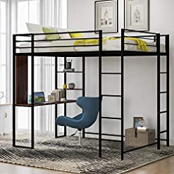 Bedroom Full Size Metal Loft Bed with Shelves and Desk,Two Build-in Ladders and Guardrails, Space-Saving Design,for Kids Teens… bunk beds