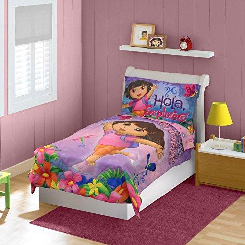 [Nickelodeon Dora the Explorer - Hola Explorer 4 Pc Toddler Bedding] (Dora Explorer Toddler Bedding Set)