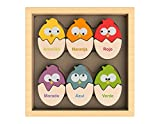 BeginAgain - Color 'N Eggs Matching Puzzle, Make Learning Fun and Help Spark Your Child's Imagination, Bilingual Wooden Colors Puzzle (For Kids 2 and Up)