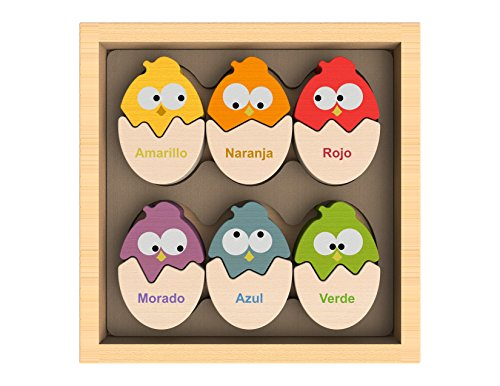 BeginAgain - Color 'N Eggs Matching Puzzle, Make Learning Fun and Help Spark Your Child's Imagination, Bilingual Wooden Colors Puzzle (For Kids 2 and Up) ()
