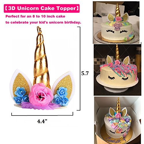 Unicorn Cake Topper & Sparkly Wing & Unicorn Cupcake Wrappers - LEMENSTART Unicorn Themed Party Favors Decorations for Unicorn Party Baby Shower Wedding Birthday Decorations by LEMENTSTAR (Image #2)