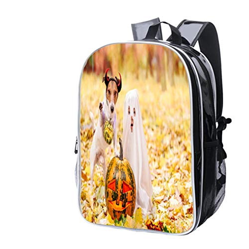 High-end Custom Laptop Backpack-Leisure Travel Backpack Kid and Dog Dressed in Halloween Costumes with Jack o Lantern Pumpkins Water Resistant-Anti Theft - Durable -Ultralight- -