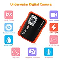Underwater Camera for Kids, CrazyFire 12MP HD Waterproof Digital Camera Children Birthday Gift, 2.0 Inch LCD Display, 8x Digital Zoom with 8G SD Card and Floating Wrist Strap from H-Zone Technology Co.,Ltd