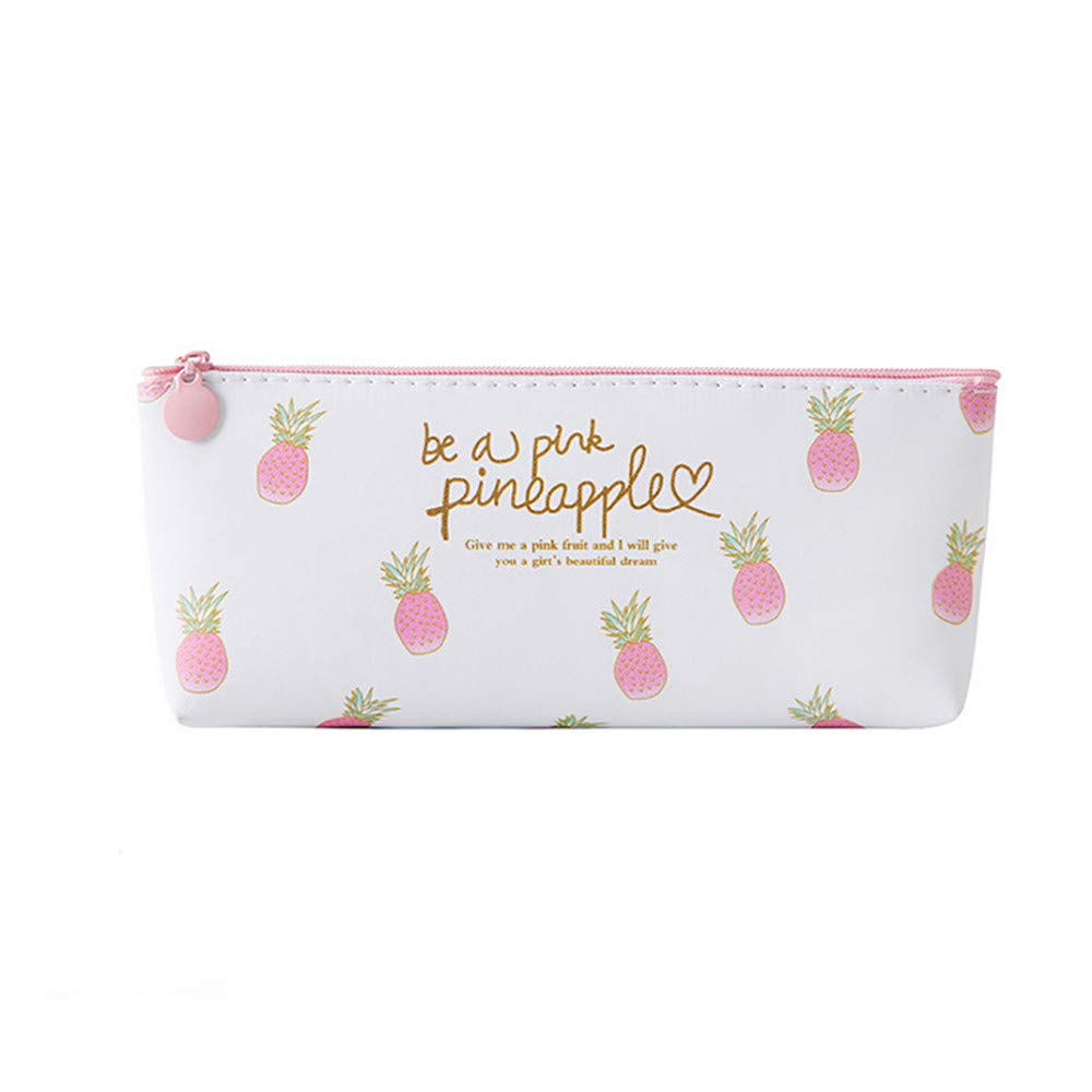 Pencil Case for Girls, Iuhan Pink Pineapple Pencil Case Cosmetic Bag Makeup Pouch Pencils Box (D)