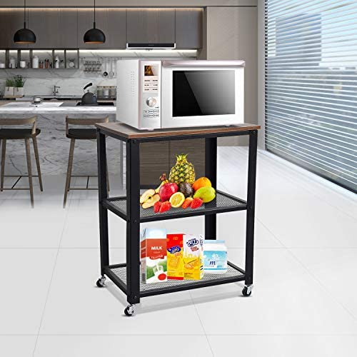home, kitchen, furniture, game, recreation room furniture, home bar furniture,  bar, serving carts 3 on sale YasmineIndustrial Storage Cart, 3-Tier Kitchen Table on promotion