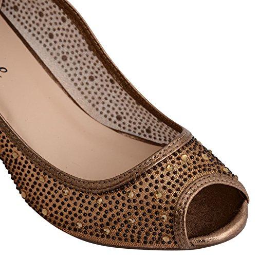 Footwear Sensation - Zapatos de tacón mujer Bronze Metallic Mesh
