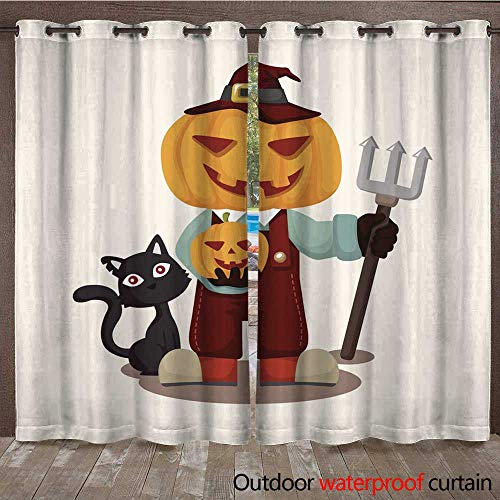RenteriaDecor Outdoor Curtains for Patio Sheer Halloween Party Costume Theme Elements W84 x L108 ()
