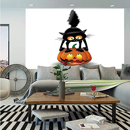 Halloween Decorations Huge Photo Wall Mural,Black Cat on Pumpkin Spooky Cartoon Characters Halloween Humor Art,Self-Adhesive Large Wallpaper for Home Decor 100x144 inches,Orange Black