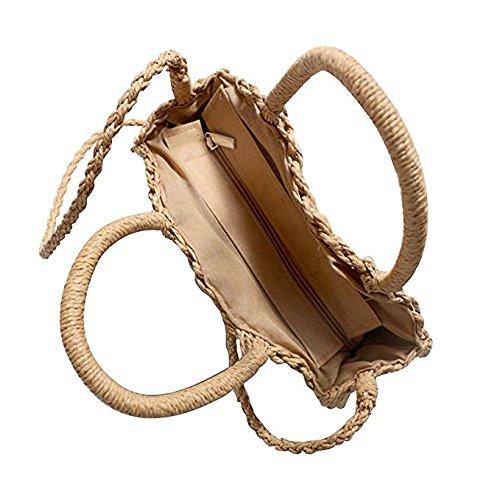bandoulière sacs Voyage sac à d'été main ronde plage à main femmes sac à sac Crossbody Brown de à Light Straw Weave et main Leisuretime Bag XqwR7pX