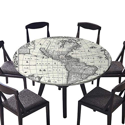 Round Fitted Tablecloth Image of Antique Map America in 1600s World in Medieval Time Ancient for All Occasions 31.5