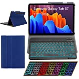 """Keyboard Case for 2020 Samsung Galaxy Tab S7 11"""" SM-T870/T875/T878 SUNYOUNG Backlights Ultra Thin PU Leather Slim Folio Stand Cover with Removable Wireless Bluetooth Backlit Keyboard (Navy)"""