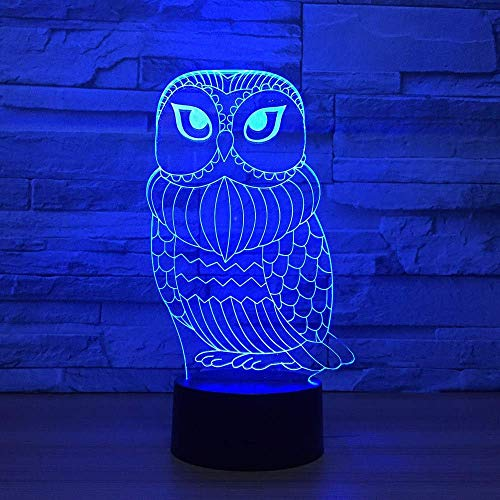 OVIIVO Creative Table Lamp Desk Lamp 3D Lamp Cute Owl 7 Color Led Night Lamps for Kid Touch Led USB Table Lampara Baby Sleeping Nightlight Led with Sensor Using for Reading, Working by OVIIVO (Image #1)