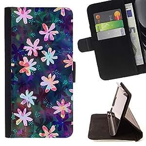 For HTC One M7 Case , Dibujo floral iridiscente Femenino- la tarjeta de Crédito Slots PU Funda de cuero Monedero caso cubierta de piel