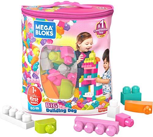 Mega Bloks First Builders Big Building Bag with Big Building Blocks, Building Toys for Toddlers (80 Pieces) – Pink Bag