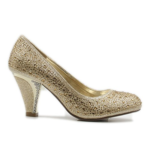 Women's Round Toe Party/Performance Shoe with Sparkle Crystal Gem Rhinestone Glitter, Chunky Mid-Height Heel (7, Gold)