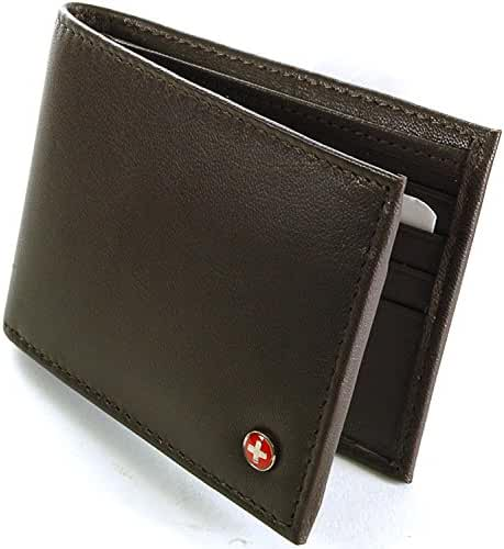 Alpine Swiss Men's Genuine Leather Wallet Slim Flip-out Bifold Dark Brown