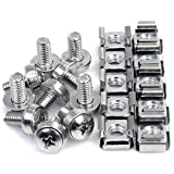 StarTech.com M6 Screws and Cage Nuts - 50 Pack - M6 Mounting Screws and Cage Nuts for Server Rack and Cabinet - Silver