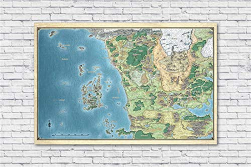 NATVVA Wall Art Map of The Sword Coast Poster Canvas Painting Modern Art Picture Print Gifts Artist Home Decor Artwork for Living Room Bed Room Wall Decoration No Frame